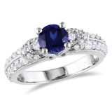 1 5/8 Carat Created Blue and White Sapphire Fashion Ring in Sterling Silver - 7500080831
