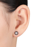 1/4 Carat Black and White Diamond Sterling Silver Earrings with Black Rhodium - 7500499408