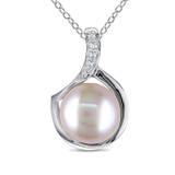 9 - 9.5 mm Pink Freshwater Pearl and Diamond Pendant - 7500499430