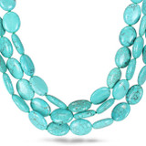 Turquoise Bead with White Tone 3-Strand Necklace - 7500081810