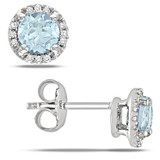 0.07 Carat Diamond & 1.06 Carat Sky Blue Topaz Ear Pin Earrings in Sterling Silver - 7500975017