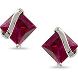 2 1/3 Carat Square Created Ruby Earrings in 10K White Gold - 7500081373