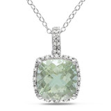 1/10 Carat Diamond & 4 Carat Green Amethyst Pendant with Chain in Sterling Silver - 7500975043