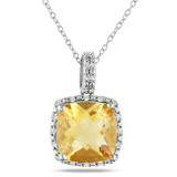 4 Carat Citrine & 1/10 Carat Diamond Pendant with Chain in Sterling Silver - 7500975044