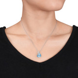6 Carat Blue Topaz & Diamond Accent Pendant in 10K White Gold - 7500081222