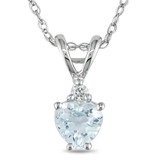 3/8 Carat Heart Shape Aquamarine & Diamond Accent Pendant in 10K White Gold - 7500081221