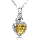 1 5/8 Carat Citrine Heart Pendant in Sterling Silver - 7500081216