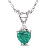 1/3 Carat Heart Shape Created Emerald & Diamond Accent Pendant in 10K White Gold - 7500081210