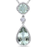 5 Carat Green Amethyst & Created White Sapphire Pendant in Sterling Silver - 7500975046