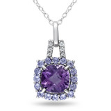Diamond, Amethyst & Tanzanite Pendant with Chain in Sterling Silver - 7500081156