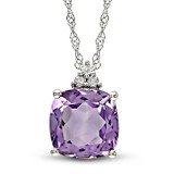 1 3/4 Carat Amethyst & Diamond Fashion Pendant with Chain in 10K White Gold - 7500081096