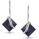 Created Sapphire Leverback Earrings in 10K White Gold - 7500081077