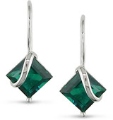 3 Carat Created Emerald Earrings in 10K White Gold - 7500081069