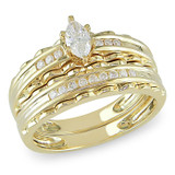 3/8 Carat Marquise Diamond Bridal Set Ring in 10K Yellow Gold - 7500081775