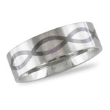 Ring with Black Enamel in Stainless Steel - 7500081567