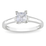Created White Sapphire Solitaire Ring in 10K White Gold - 7500081501
