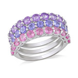 4 Carat Tanzanite, Amethyst & Created Pink Sapphire in Sterling Silver - 7500081340