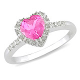 7/8 Carat Pink Sapphire & Diamond Accent Heart Ring in Sterling Silver - 7500081337