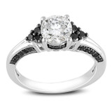 3/8 Carat Black Diamond & 1 3/8 Carat Created White Sapphire Ring in Sterling Silver - 7500081336