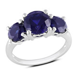 4 2/5 Carat Created Blue Sapphire Ring in Sterling Silver - 7500081315