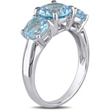4 3/8 Carat Blue Topaz 3-Stone Ring in Sterling Silver - 7500081301