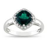 1 3/4 Carat Created Emerald Ring in Sterling Silver - 7500081278