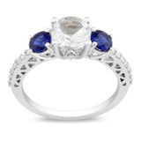 1/7 CT Diamond & 2 CT Created White Sapphire & Created Blue Sapphire Ring in 10K White Gold - 7500081126