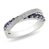 1/10 Carat Diamond & 1 Carat Created Blue Sapphire Ring in Sterling Silver - 7500081121
