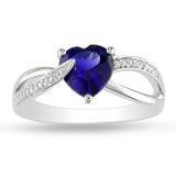 1 7/8 Carat Created Blue Sapphire & 0.05 Carat Diamond Ring in Sterling Silver - 7500081108