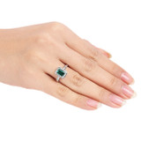 7/8 Carat Created Emerald & Diamond Ring in Sterling Silver - 7500081015