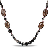 50 inch 1,275ct TGW Multi Color Black & White Agate Beads, Purple Crystal & Synthetic Smokey Quartz Necklace - 7500082207