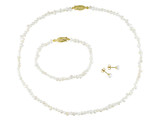 Freshwater White Pearl Set of Necklace and Bracelet with Earrings in Brass - 75000001703