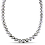 9-12.5mm Tahitian Pearl Necklace in 14K White Gold - 7500082437
