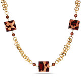 8.5-9.0mm Brass Geopard Bead Freshwater Brown Pearl Necklace - 7500082450