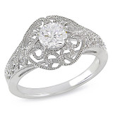 1 1/8 CT TGW White Cubic Zirconia Fashion Ring Silver - 7500720002
