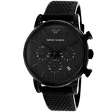Emporio Classic Chronograph Men's Black Dial Black Leather Watch - AR1737