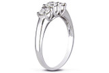 1 CT Diamond TW 3 Stone Ring 14k White Gold GH I2;I3 IGL Certification - 7500040088