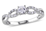 1/10 CT Diamond TW & 1/4 CT TGW Created White Sapphire Ring 10k White Gold GH I2;I3 - 7500040123