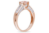1/2 CT Parallel Baguette & Round Diamonds TW & 4/5 CT TGW Morganite Engagement Ring 14k Pink Gold GH I1;I2 - 7500040153