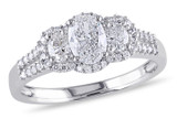 1 CT Oval and Round Diamonds TW Ring 14k White Gold GH I1 - 7500040180