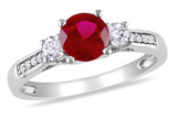 0.05 CT Diamond & 1 1/3 CT Created Ruby Created White Sapphire Ring 10k White Gold GH I2;I3 - 7500040136