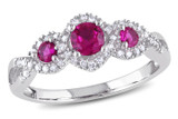 1/8 CT Diamond TW And 1/2 CT TGW Ruby Fashion Ring 10k White Gold GHI I2;I3 - 7500040187