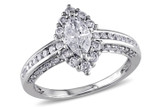 1 1/4 CT Marquise and Round Diamonds TW Ring 14k White Gold GH I1;I2 - 7500040148