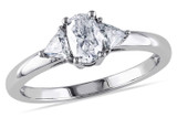 3/4 CT Oval and Trillion Diamonds TW Ring 14k White Gold GH I1;I2 - 7500040150