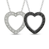 1/4 CT Black & White Diamond TW Heart Pendant With Chain Silver GH I3 Black Rhodium Plated - 7500043254