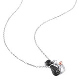 0.01 CT Black Diamond TW Fashion Pendant With Chain White Pink Silver Black Rhodium Plated - 7500040347