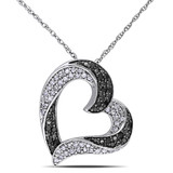 1/3 CT Black & White Diamond TW Heart Pendant With Chain 10k White Gold GH I2;I3 Black Rhodium Plated - 7500040440