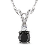 1/2 CT Black & White Diamond TW Fashion Pendant With Chain 10k White Gold GH I3 Black Rhodium Plated - 7500043801