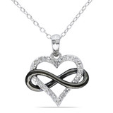 1/10 CT Diamond TW Fashion Pendant With Chain Silver GH I2;I3 Black Rhodium Plated - 7500043874