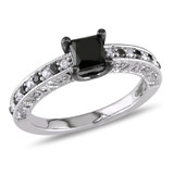 1 CT Black & White Princess & Round Diamonds TW Ring Silver GH I2;I3 Black Rhodium Plated - 7500043816